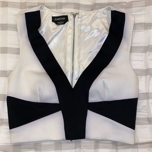 Bebe Black and White Crop Top